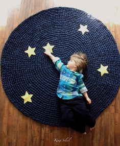 Kids Rug Reach for the Stars Navy Cotton Crochet Rug with Yellow Linen Stars on Etsy, £97.63