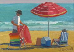 Jennifer Boswell Original Modern Impressionist Picnic at the Beach with Striped Umbrella Figurative Oil Painting 5x7