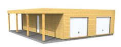 garage en bois type ossature bois  en toit plat