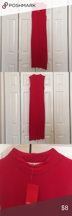 Long red turtle neck dress Long red dress, shin length. Nice light material with a high neck. Never been worn, new with tags. Forever 21 Dresses Maxi