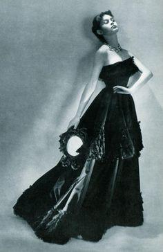 16 year old Brigitte Bardot wearing a dress by Balenciaga, 1950