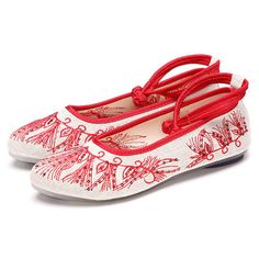 Hot-sale White Canvas Embroidered Pattern Casual Retro Flat Shoes - NewChic Mobile.