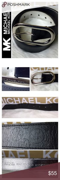 """Michael Kors Signature Leather Belt Michael Kors Signature Leather Belt in Elegant Black with MK Logo Embossed, Size Extra Large Tag, Measures Approx. 45"""" Long, Has Extra Man Made Hole, Used in Good Condition Michael Kors Accessories Belts"""