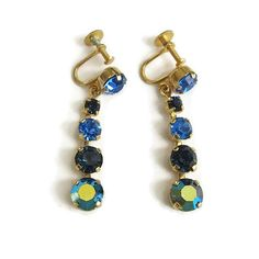 Vintage Austria Rhinestone Dangle Earrings in Shades of Blue & Aurora Borealis by MyVintageJewels on Etsy