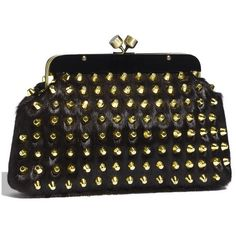 House of Harlow 1960 'Tilly' Studded Calf Hair Clutch ($125) ❤ liked on Polyvore