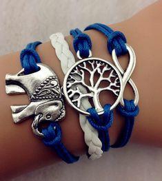 Elephant bracelet,infinity bracelet tree Bracelet vintage Bracelet,special Bracelet Wax Cords Chain,Bacelet,Christmas gifts Retro jewerly on Etsy, $7.99