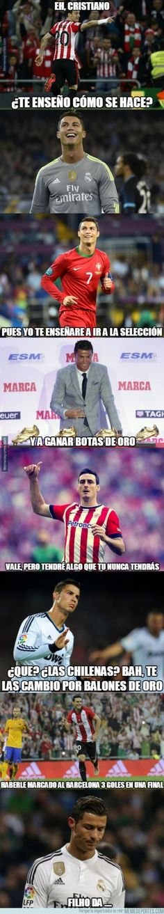 789319 - La doble envidia de Cristiano Ronaldo hacia Aduriz después de su chilena Football Memes, Football Players, Cristiano Ronaldo, Soccer Art, Funny Moments, Sports Equipment, Athletic, Humor, Luigi