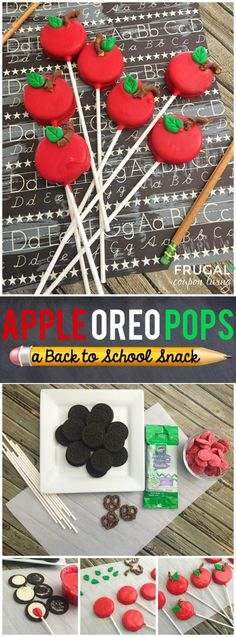 Back to School Snack Idea -Apple OREO Pops on Frugal Coupon Living plus more First Day of School and Back to School Snack Ideas. School Snack Ideas For Kindergarten Back To School Party, School Parties, First Day Of School, School Fun, School Cake, School Treats, School Snacks, Classroom Snacks, Pre School Snack Ideas