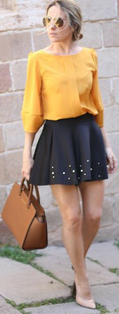 Black Skirt Top Yellow