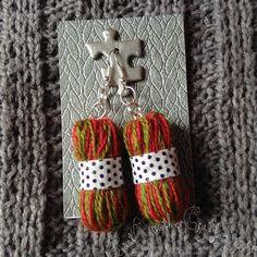Mini Handcrafted Yarn Ball Earrings. Yarn by HandDrawnYarn on Etsy