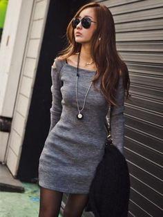 Slim Long Sleeve Sheath Dress