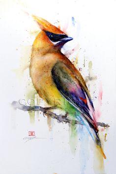 CEDAR WAXWING Watercolor Print by Dean Crouser by DeanCrouserArt,