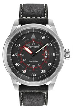 The Citizen Watch U. Eco-Drive Avion is a military aviator-style timepiece with a stainless steel case, black dial, and black leather strap with white contrast stitching. Mens Watches Leather, Leather Men, Watches For Men, Black Leather, Unique Watches, Cheap Watches, Rolex, Casio Protrek, Citizen Eco