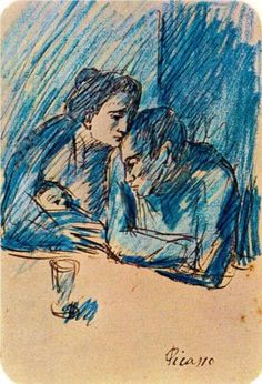 Man and woman with child in café - Pablo Picasso - Barcelona, 1903. Pen on paper.