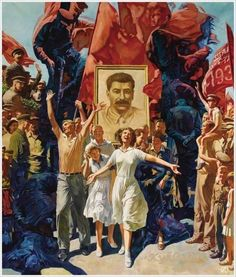 """Alexander Dudin, Demonstration"""" (painted in reveals ghastly and macabre shapes of Soviet NKDV, or KGB, carrying people to their deaths. A perfect illustration of Stalin's """"reign of terror"""" and the artificial cheer displayed in the Soviet art: Communist Propaganda, Propaganda Art, Russian Revolution 1917, Socialist Realism, Soviet Art, Political Art, Red Army, Pulp Art, Russian Art"""