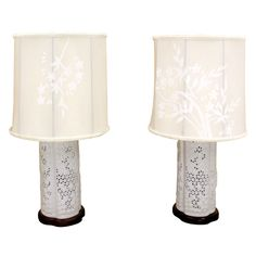 Pair fine porcelain painted shades oriental japanese table lamps pair of fine japanese porcelain oriental table lamps with painted shades from a unique collection mozeypictures Image collections