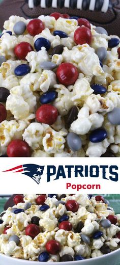 New England Patriots Popcorn for those New England Patriots fans in your life. Sweet, salty, crunchy and delicious and it is extremely easy to make. This delicious popcorn will be perfect at your next game day football party. a NFL playoff party or a Supe Superbowl Desserts, Healthy Superbowl Snacks, Game Day Snacks, Game Day Food, Superbowl Food Ideas, Quick Snacks, Vegan Snacks, Party Snacks, Party Appetizers