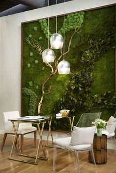 These designers create productive and inspiring work environments without compromising sleek, modern office decor. Browse this collection of commercial office design ideas. Commercial Office Design, Moss Wall Art, Moss Art, Modern Office Decor, Minimalist Office, Trendy Furniture, Furniture Design, Architectural Digest, Design Firms