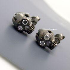 Black Diamond Skull Earrings Skull Men's by on Etsy Diamond Skull, Gold Skull, Diamond Eyes, Black Skulls, Black Diamond, Stud Earrings For Men, Skull Earrings, Body Jewellery, Etsy Jewelry