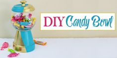 A beautiful gold & teal version of the classic DIY gumball machine, made from a clay pot & a glass bowl. Use it for gum, candy or a variety of other things! Crafts With Glass Jars, Mason Jar Crafts, Bottle Crafts, Diy Gumball Machine, Diy Christmas Gifts, Burlap Christmas, Candy Bowl, Diy Clay, Craft Stick Crafts