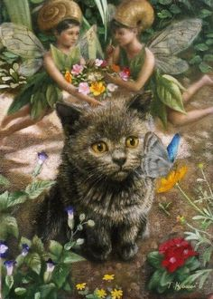 Do you know the story of the cat who befriended fairies? Innocence in the garden viaTokuhiro Kawai