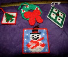 Made in The 80s Christmas Ornaments Plastic Canvas.