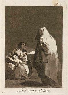 """Capricho 3. """"Que viene el Coco"""": Goya consideraba un grave error en la educación de los niños el que los padres los asusten con fantasmas y seres que no existen, superstición absurda que luego los va a dominar toda la vida. Los ilustrados consideraban que la corrección de estos defectos era la única forma de acabar con la ignorancia y con la superstición."""