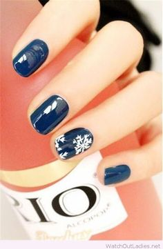 Navy Christmas nails with white details