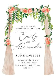Peach floral Canopy - Engagement Party Invitation #invitations #printable #diy #template #Engagement #party #wedding