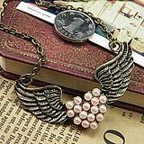Wing Pink Pearl Look Heart with Wings Necklace Free Shipping  $10.50