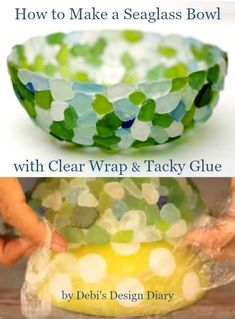 Genius way to make a seaglass bowl with clear wrap: http://www.completely-coastal.com/2015/11/how-to-make-seaglass-bowl.html #seaglassdiy #howtomakeseaglass #StainedGlassHowToMake