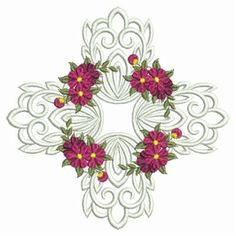 Sweet Heirloom Embroidery Design: Flower Beauties Quilt 3.82 inches H x 3.82 inches W