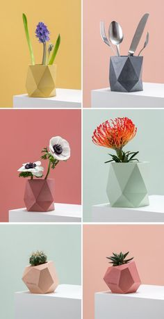 Austrian designer Klara Schuster, has created a collection of colorful concrete planters and vases that add a modern geometric look to your home decor. - Tap The Link Now To Find Decor That Make Your House Awesome