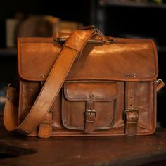Kipling Leather Briefcase Bag in Camel, Vintage and British Inspired Bag by Buffalo Jackson Trading Co.