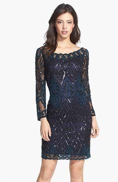 Pisarro Nights Beaded Long Sleeve Short Dress available at #Nordstrom
