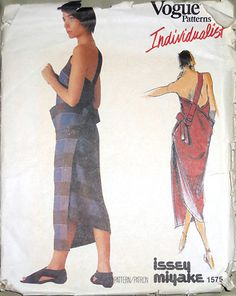 VOGUE ISSEY MIYAKE  Back Wrap One Shoulder Dress Pattern 1575 ........ great…