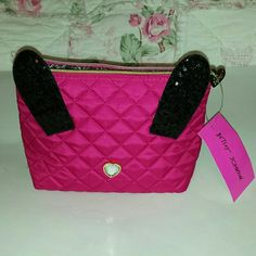 Betsey Johnson Fuchsia Disco Bunny Bag. NWT Fuchsia quilted zipper bag, has black sequin ears & clear jeweled heart nose. I inside zipper pocket. Betsey Johnson  Accessories