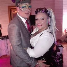 My fiance and I at the Alternative fashion fest masquerade ball #swallowtailmillineryandaccessories