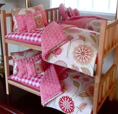 Adorable doll bedding & bunk beds. The woman who makes these lovely sets is great to work with. She went above & beyond to help me with my daughters birthday gift.