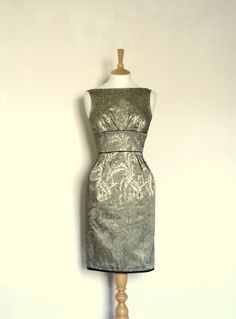 Burnt Silver and Black Brocade Wiggle Dress  Made by digforvictory, £155.00