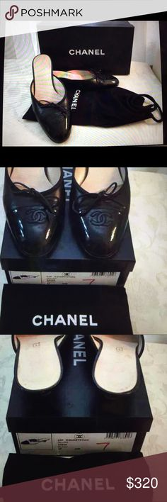 Chanel CC Classic Mules Authentic Chanel CC cap toe mules, kitten heels, slide on, black leather, preowned, regular sign of wear. Comes with box and dust bag. CHANEL Shoes Mules & Clogs