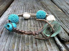 Beach bracelet womens turquoise macrame hemp natural by missholly3, $20.00