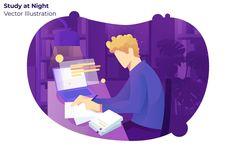 Study at Night Vector Illustration Vector illustration Illustration art design Illustration character design