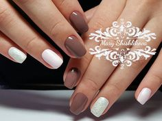 Beautiful nails, Brown and white nails, Delicate nails, Pastel nails, Short spring nails, Spring nails 2017, Spring shellac nails, Two color nails