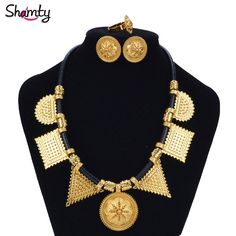 Shamty Habesha Sets Woman Pure Gold Color Leather Rope DIY Jewelry Sets African Ethiopian Eritrean Necklace Earrings Ring A30039