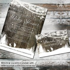 Winter Baby Shower Invitations | Printable Rustic Baby Shower Invitations | wood with garland lights, snowflakes deer in a forest