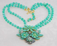 http://www.amazingadornments.com  Breathtaking Floral Motif Double Stand Necklace Signed IAN ST GIELAR for STANLEY HAGLER