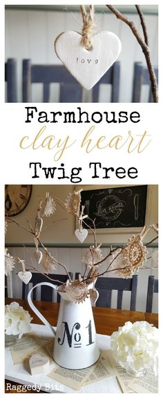 Add some romantic charm to your decorating with this Farmhouse Clay Heart Twig Tree | For Valentines Day, Weddings, Wedding Anniversary or all year round | Full Tutorial | http://www.raggedy-bits.com