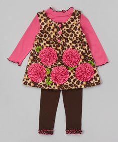 Loving this Brown & Pink Leopard Flower Fleece Jumper Set - Infant on #zulily! #zulilyfinds