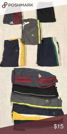 Baby Boy Gym Pants Bundle 6-12 Month gym pants Bundle including: 6m grey & red Adidas, 6-9m black Children's Place, 12m grey & yellow Carter's & (2) 12m blue striped Nike. Nike Bottoms Sweatpants & Joggers